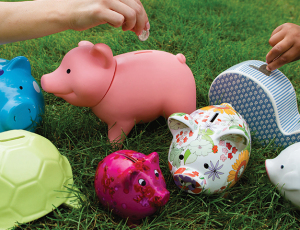 Photo of brightly coloured piggy banks