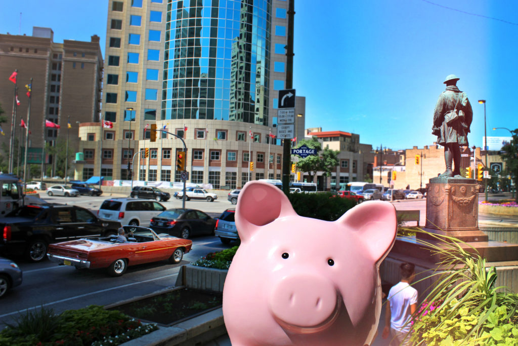 Piggy Bank at Portage and Main, Winnipeg